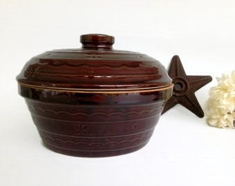 Vintage MarCrest Daisy and Dot, Daisy and Dot Dutch Oven, Vintage Stoneware Covered Dutch Oven, Country Farmhouse Dutch Oven Casserole
