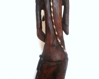 Wood Carving. Wooden Statue.  1980's Very Nicely Done Wood Statue.