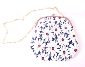 Daisy Chain Handbag - floral flower navy dark blue white red satin crossbody shoulder bag purse strap handmade by The Emperor's Old Clothes