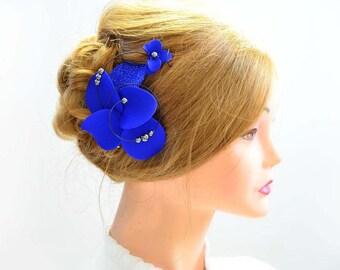 Royal blue fascinator Orchid fascinator Hair clip Bridesmaid headpiece Bridal hair flower Wedding hair accessory