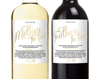 Wine Labels for Inlaws - Parent Wedding Gift - In laws - Father in law - Mother of the Bride - Thank You Wedding Gifts - Set of 2