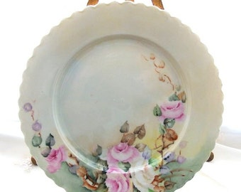 Antique O & E G Royal Austria Plate Pink Roses circa 1899 - 1918