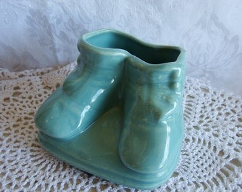Vintage 1950s Baby Bootie Pottery Pocket Planter, Blue
