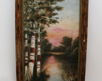 Oil Painting on Academy Board, F.W. Devoe & C.T Raynold's Co.  Birch Trees Landscape