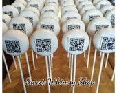 24 Custom Cake Pops with Photo, QR Code, Company Logo, Name, Wedding, Birthday, Baby Shower, Gender Reveal, Creative Marketing, Digital