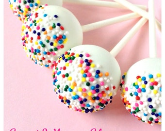 12 Rainbow Nonpareil Sprinkle Topped Cake Pops in White Chocolate for candy buffet, wedding, birthday, unicorn, baby shower, confetti circus