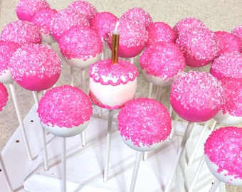 25 Hot Pink Bling Birthday Cake Pops for Sweet Sixteen party favors, Quince, Quinceañera, Bat Mitzvah, Crystal, Hello Kitty, Shopkins, 16 21