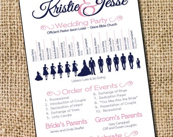 Silhouette Wedding Program - PRINTABLE