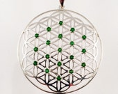 Sacred Geometry, Sterling Silver Flower of Life Pendant with Chrome Diopside Gems - Extra Large Size
