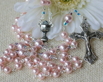 Catholic Swarovski Pearl First Holy Communion Rosary