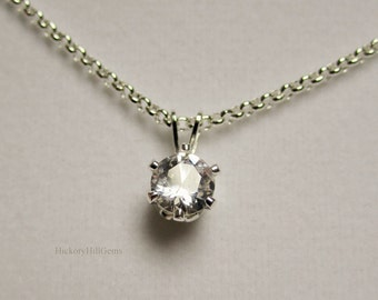 Lab White Sapphire Necklace small gemstone necklace 6mm Lab Created sapphire pendant, .85 carat clear stone, .925 Sterling Silver