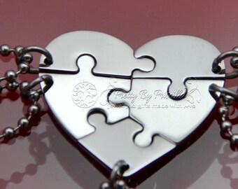 5 Best Friend Necklace - Five Piece Puzzle Heart Necklace - Sister Necklace | Best Friend Necklace | Gift for friends