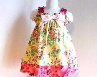 Baby Girl dress, sz 6-12mo, baby sundress, baby summer dress, pink floral, baby girl clothes, baby girl clothing.