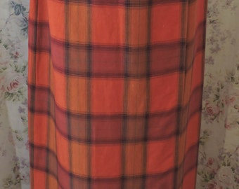 90s Laura Ashley Maxi Skirt - Wrap Around Style - Plaid Linen - Ankle Length - Fall Colors - Hipster - Excellent Condition - Size US 8