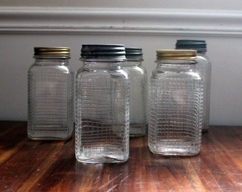 5 Vintage Square Quilted Glass Jars, 3 with Zinc Lids - 1930's to 1950's - Hazel Atlas, Owens-Illinois Glass, Ball, Antique, Canning