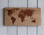 World Map Modern Wall Hanging - Rustic Wooden Map Sign