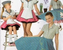 Simplicity 3836, Girls Poodle Skirt and Car Hop Halloween Costume, Sewing Pattern, Sizes 3,4,5 and 6