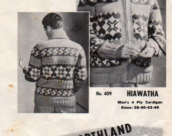 Mary Maxim  409, Hiawatha  Graph  Sweater Knitting Pattern for Adults, Sizes 38, 40 , 42 and 44 Inch Chest, Hearts and Symbols Design