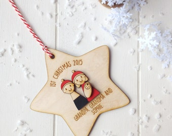 Grandparents' First Christmas Tree Decoration - Personalised tree decoration