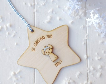 Personalised Puppy's First Christmas Tree Decoration