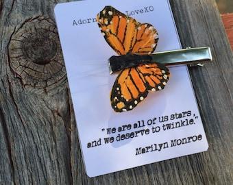 Monarch Butterfly Hair Clip, Butterfly Hair Pin, Orange Butterfly Hair Clip, Monarch Hair Clip, Butterfly Accessories, Orange Butterfly