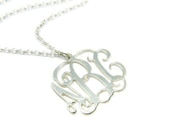 "2"" Silver monogram necklace. Sterling silver monogram necklace. Initial monogram necklace. Silver initial necklace. Initial jewelry. Gifts"