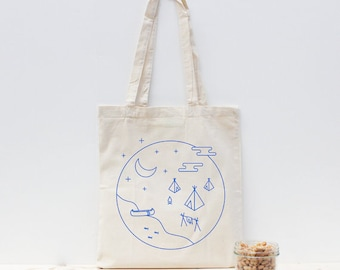Blue handprinted tote bag / camping travel / non-toxic ink / screenprint - Tribe