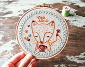 "Hand Embroidered Hoop Art - Tea Time Fox - Textile Wall Decor in Mint & Orange on Natural Linen - 5"" hoop - Gift for Home"