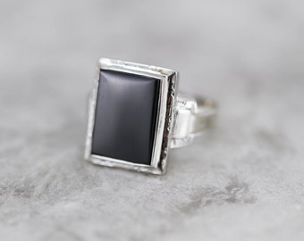 Classic Black Onyx Mens Ring in White Gold, Retro Era 83FTAX-D