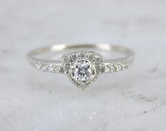 Unique Diamond Engagement Ring in White Gold RUWER3-N