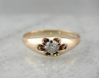 Antique Diamond Belcher Ring in Rose Gold V3JPK8-R