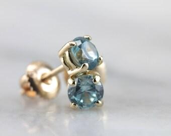 Arctic Blue Zircon Threaded Stud Earrings  YQF6KP-R
