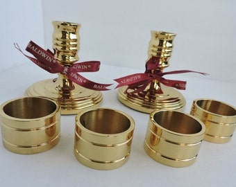 Baldwin Solid Brass Candlesticks & Napkin Rings | Vintage Set of Gold Candle Holders | Dining Tableware | GreenTreeBoutique