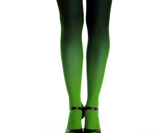 Ombre tights green-black