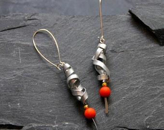 Bohemian earrings, Hammered earrings, Long statement earrings, Gemstone earrings, Orange Jade, Dangle earrings, Gift for women, 1123-silver