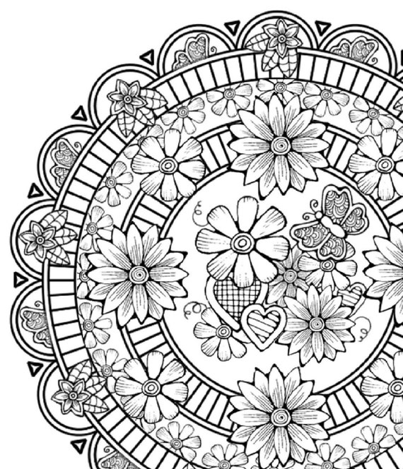Adult Coloring Page Flower Mandala By LittleShopTreasures On Etsy