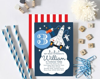 Astronaut Rocket Space Shuttle Birthday Party Invitations (Personalised DIY Printables)