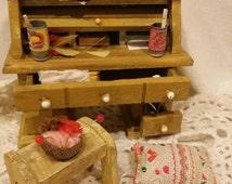 Antique dollhouse furniture gold tone desk with stool. Dollhouse furniture. Dollhouse. Barbie furniture. Barbie. Doll furniture.Miniatures