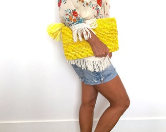 Straw Clutch, Summer Purse,Straw Clutch Bag,Yellow Beach Bag