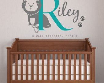 Large Lion Wall Decal With Initial, Name And Paw Prints.   Animal Jungle  Theme Part 61
