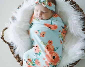 Coral Poppy Swaddle Blanket and Headband Set / Knit Swaddle/ Newborn