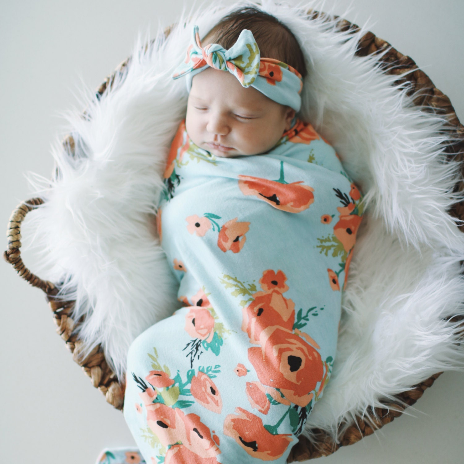 Coral Poppy Swaddle Blanket And Headband Set Knit Swaddle
