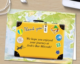 Traveling Suitcase Bar or Bat Mitzvah Thank You Folded Card, Editable PDF Instant Download