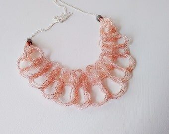 Bib necklace, Peachy pink necklace, seed bead necklace, pink,bubble necklace, blush pink,statement,wedding necklace,peach,bridesmaid jewelry