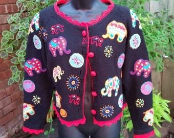 Sweater Michael Simon Elephants Wearable Art Vintage 1994