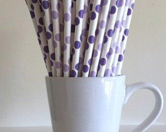 Purple Paper Straws Purple and Light Purple Lavender Lilac Polka Dot Party Supplies Party Decor Bar Cart  Party Graduation