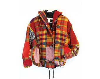 Vintage 90s Plaid Wool Hooded Jacket M/L