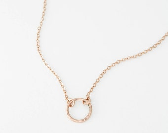 Dainty Rose Gold Necklace, Delicate Open Circle, Rose Gold Circle, 14k Gold Fill, Sterling Silver or Rose Gold / Layering Necklace LN_132_09