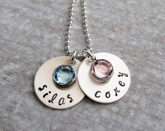 Personalized Necklace, Two Names, Hand Stamped Necklace, Birthstone charm Necklace, Sterling Silver, Necklace for Mom