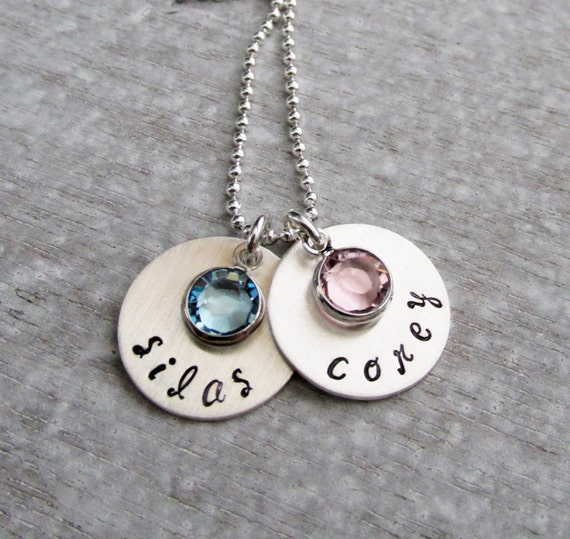 Necklace two names hand stamped necklace birthstone charm necklace